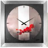 Orologio da parete grigio silver con fiori rossi-Lowell