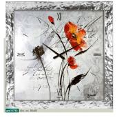 Orologio a parete con Papaveri e cassa con effetto argento liquido