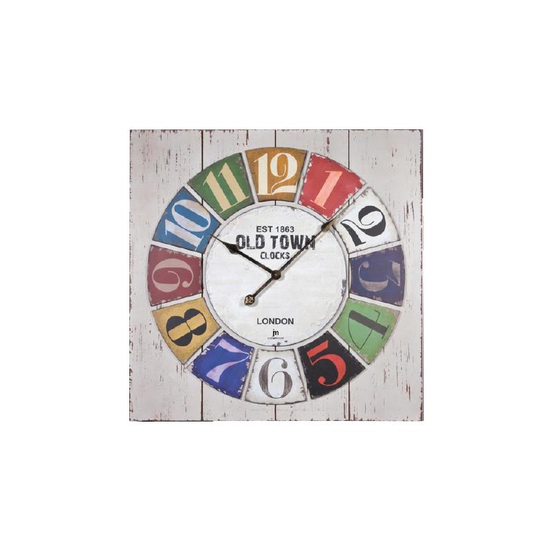 Orologio da parete QUADRATO con EFFETTO ANTICATO EST 1863 OLD TOWN CLOCKS LONDON