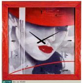 Orologio da parete-quadro con volto donna e cornice rossa   LOWELL 11740