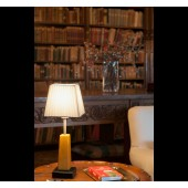Lampada da tavolo legno-metallo-paralume tessile bianco FARO mod. THYM