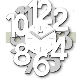 Orologio da parete in metallo con numeri bicolore esterni