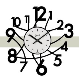 Orologio parete NERO con quadrante metallo serigrafato numeri grandi moderno  LOWELL