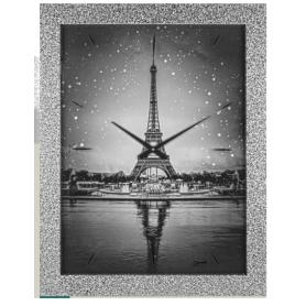 Orologio da parete quadro immagine PARIGI  TORRE EIFFEL cornice argento con brillantini