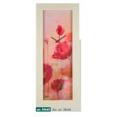 Orologio da muro quadro  verticale con papaveri rossi e cornice rovere sbiancato