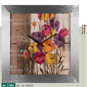 Orologio Parete quadrato moderno con tulipani colorati cassa argento metallizzato LOWELL