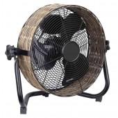 Ventilatore vintage da terra-appoggio in metallo e vimini diam.cm 30 cfg