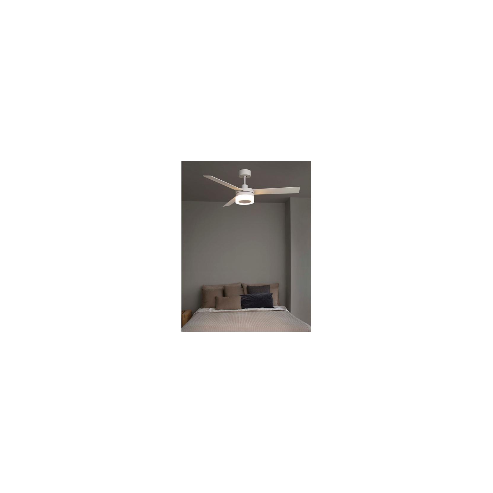 Faro ventilatore a soffitto bianco con luce led 3 pale moderno con telecomando ICE ...