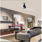 FARO ventilatore soffitto moderno NERO BRILLANTE TRASPARENTE e CROMO senza luce 3 pale  MINI ETERFAN