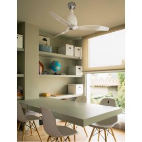 FARO ventilatore soffitto moderno  in cristallo  bianco BRILLANTE TRASPARENTE e CROMO senza luce 3 pale  MINI ETERFAN motore DC