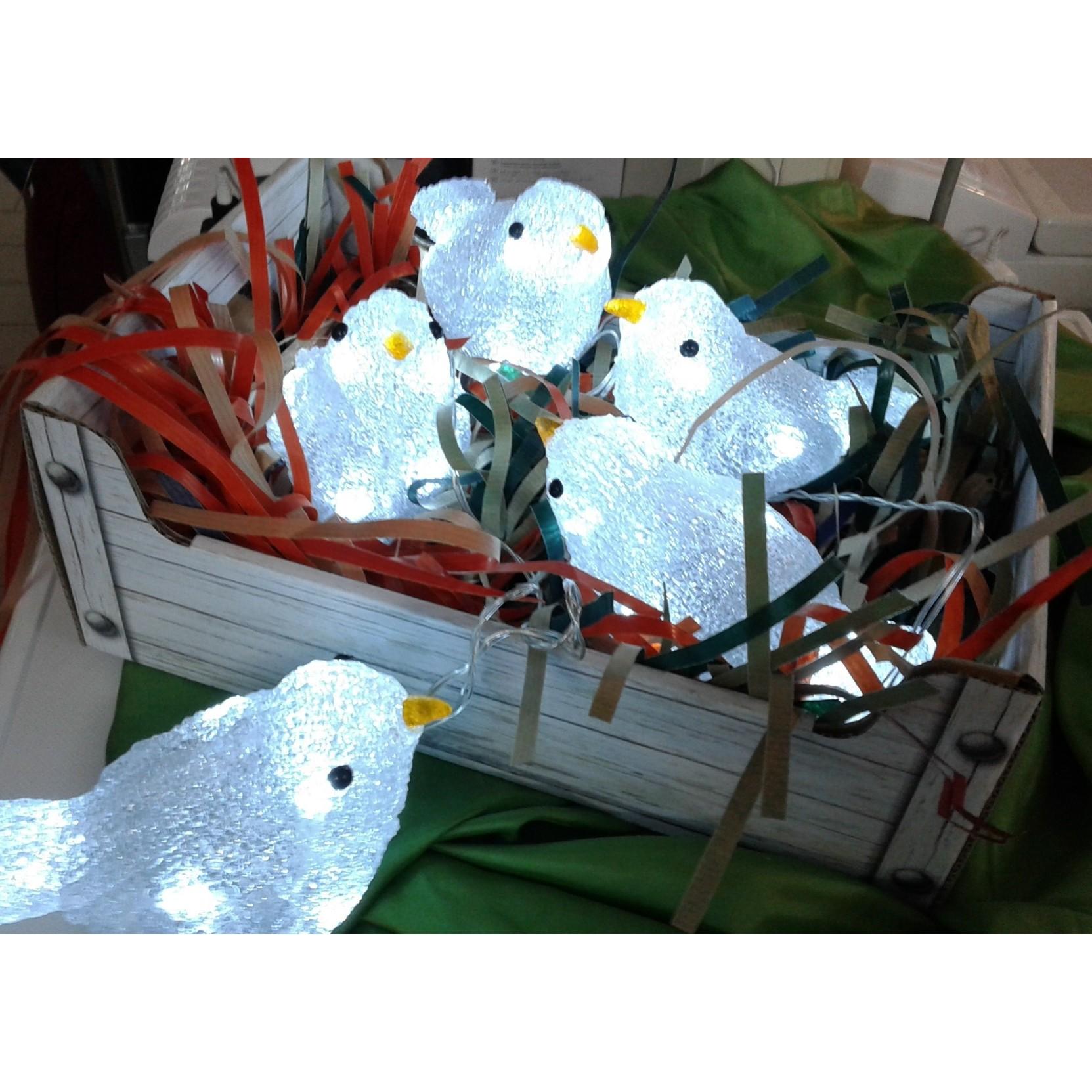 Uccellini luminosi per esterno a led con becco giallo - Decorazioni per esterni ...