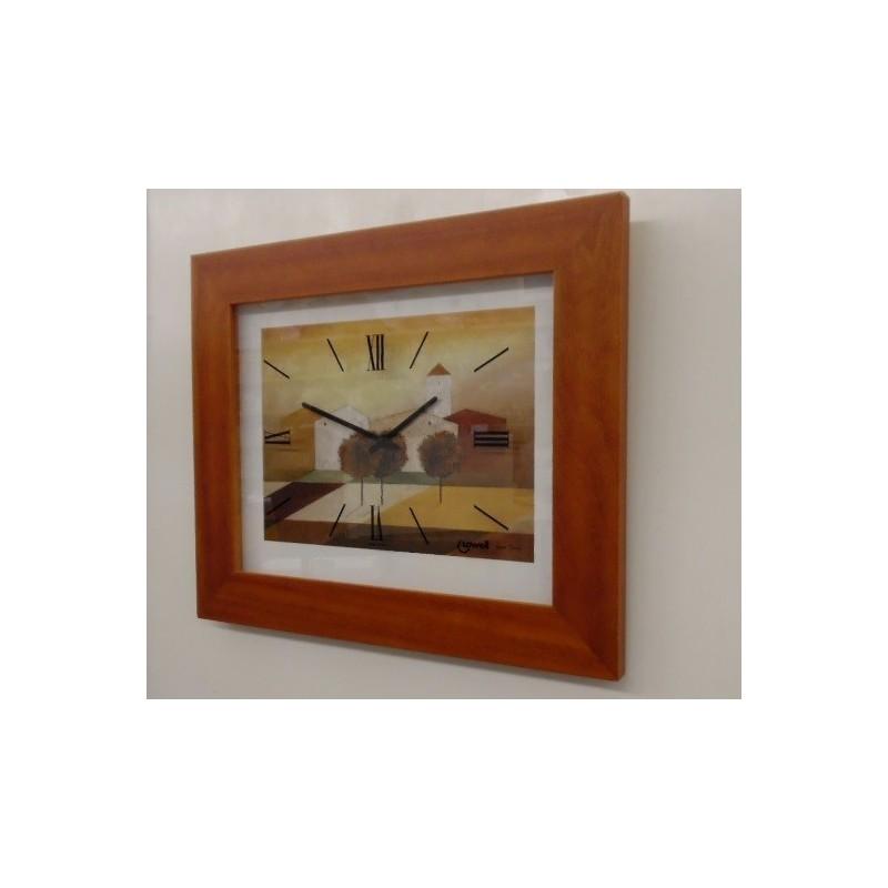Orologio parete con Stampa di Hans Paus cornice in legno