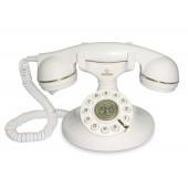 TELEFONO FISSO - DESIGN VINTAGE - COLORE BIANCO - PARTICOLARI DORATI -CAVO IN TESSUTO - REGOLABILE VOLUME -