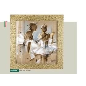 Orologio parete cornice brillantini oro disegno ballerine danza classica