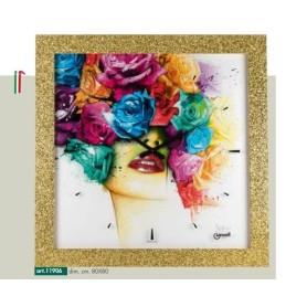 Orologio parete cornice brillantini oro disegno volto donna e rose multicolore