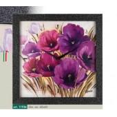Orologio da parete cornice brillantini antracite disegno fiori sui toni del viola e del porpora