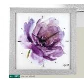 Orologio da parete cornice brillantini argento disegno ad acquerello rosa viola