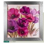 Orologio da parete disegno fiori color porpora cornice effetto millerighe argento metallizzato brillante