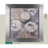 Orologio da parete cornice effetto millerighe argento metallizzato disegno fiorellini bianchi