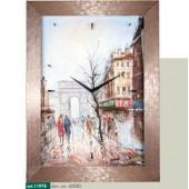 Orologio da parete immagine piazza con persone a passeggio cornice millerighe rame metallizzato