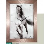 Orologio da parete immagine cavallo al galoppo cornice millerighe rame metallizzato