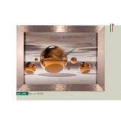 Orologio da parete disegno sfere color ocra cornice millerighe rame metallizzato