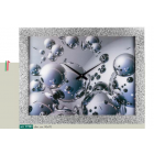 Orologio da parete immagine sfere luminose acciaio cornice brillantini argento