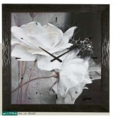 Orologio da parete disegno fiori bianchi cornice nera scolpita effetto perla