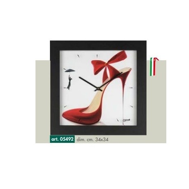 Orologio da parete disegno scarpa rossa tacco a spillo cornice nera opaca