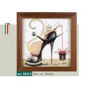 Orologio da parete disegno scarpa nera tacco a spillo e gatto bianco cornice color noce