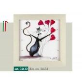 Orologio da parete disegno gatto con palloncini a cuore cornice tinta rovere sbiancato