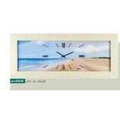 Orologio da parete cornice effetto rovere sbiancato disegno spiaggia e mare