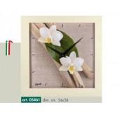 Orologio da parete immagine fiori bianchi su legnetti e cornice effetto rovere sbiancato