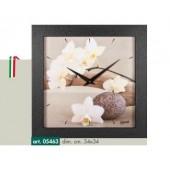 Orologio da parete immagine zen fiori bianchi cornice nero opaco