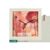 Orologio da parete disegno papavero rosso cornice effetto rovere sbiancato