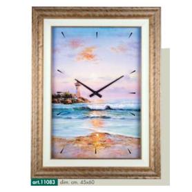 Orologio da parete disegno faro sul mare e cornice dorata stile quadro d'epoca