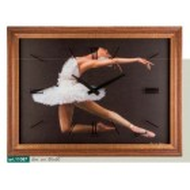Orologio da parete immagine ballerina danza classica cornice effetto noce invecchiato