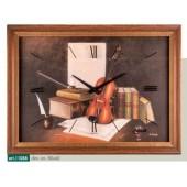 Orologio da parete disegno violino e libri stile classico cornice verniciatura noce invecchiato