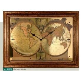 Orologio da parete disegno planisfero effetto oro metallizzato e cornice tinta noce invecchiato patinatura cerata