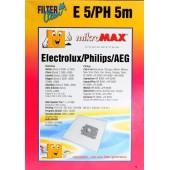 sacchetti conf.5 S.BAG per AEG-ELECTROLUX-PHILIPS-PRIVILEG-QUELLE-TORNADO-VOLTA