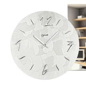 Orologio color perla in legno con numeri in rilievo Cromati diametro 50