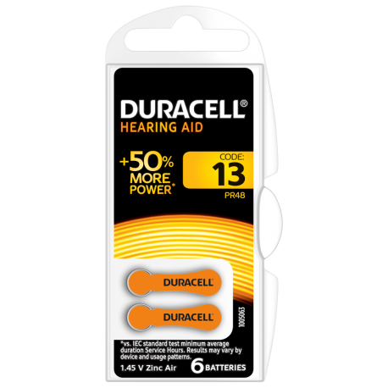 Batterie per apparecchi acustici DURACELL 13 1,45V