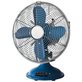 Ventilatore in metallo da appoggio retrò colore blu/cromo