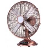 Ventilatore in metallo da appoggio retrò colore rame/cromo