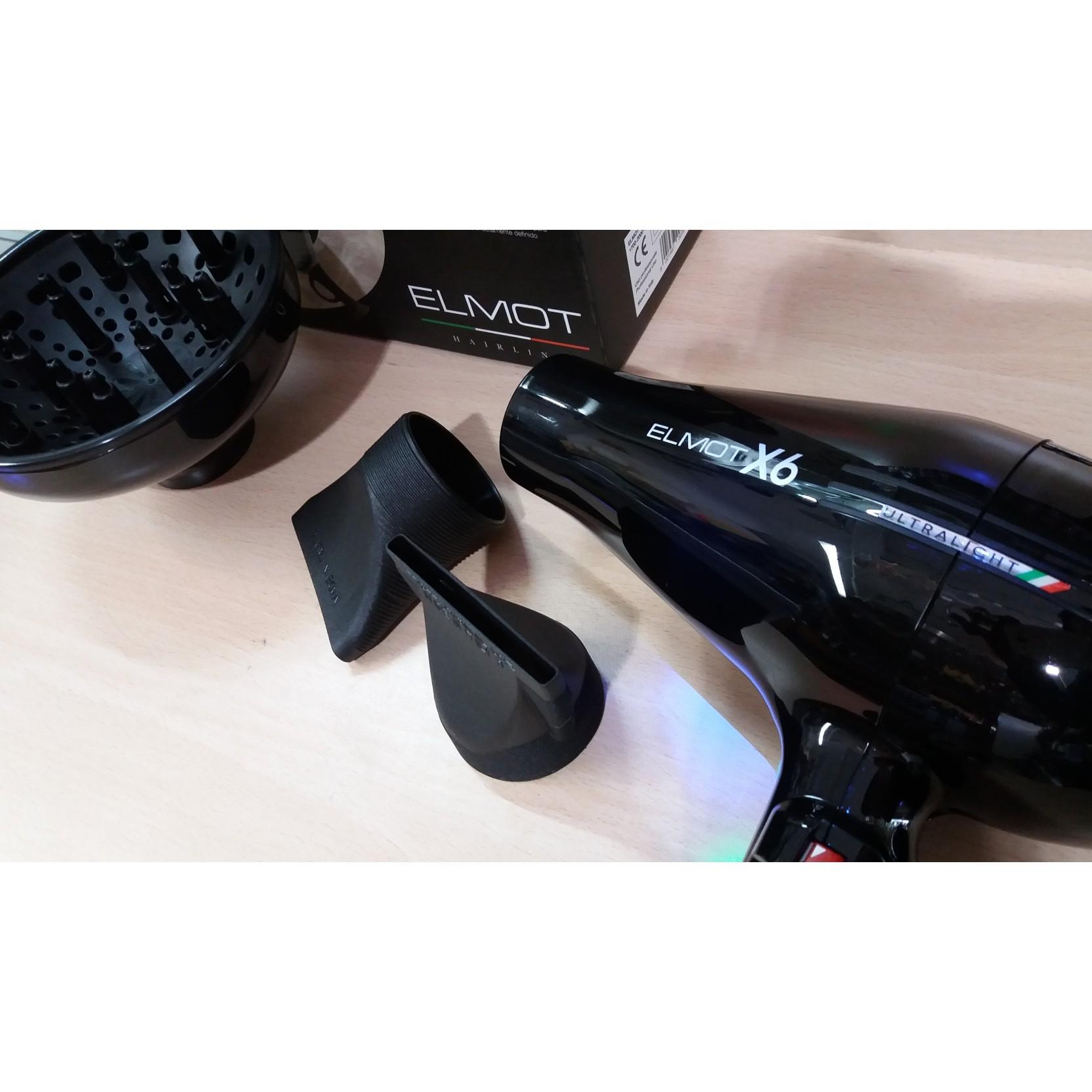 Asciugacapelli leggero e silenzioso con diffusore elmot x6