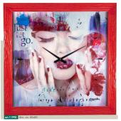 Orologio quadro LOWELL stampa volto donna cornice rossa 11990
