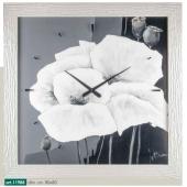 Orologio quadro LOWELL PRESTIGE con stampa fiori in bianco e nero, cornice perlata 11988