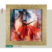 Orologio quadro LOWELL PRESTIGE con stampa modella vestito rosso, cornice dorata brillantini 11909