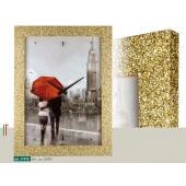 Orologio quadro LOWELL PRESTIGE  stampa coppia sotto ombrello rosso,  cornice brillanti dorati 11910