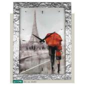Orologio quadro LOWELL PRESTIGE stampa coppia sotto ombrello, cornice argentata scolpita cm 60x80
